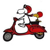 Stickers vespa Snoopy Rouge